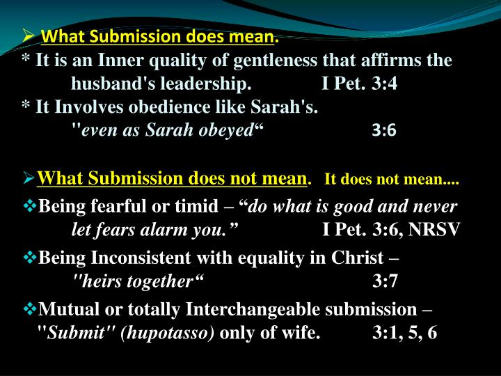 What Submission does mean