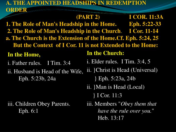 A. THE APPOINTED HEADSHIPS IN REDEMPTION ORDER
