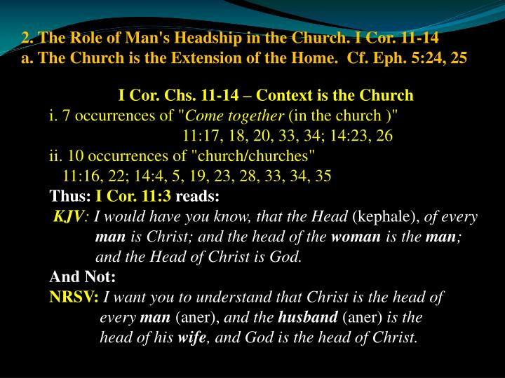 2. The Role of Man's Headship in the Church. I Cor. 11-14
