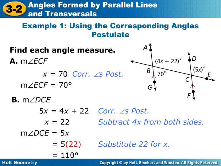 Example 1: Using the Corresponding Angles Postulate