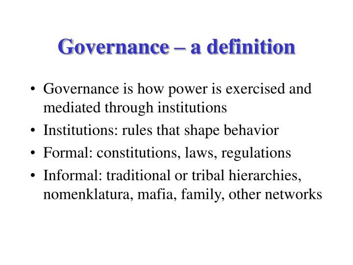 Governance – a definition