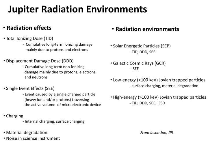 Jupiter Radiation Environments