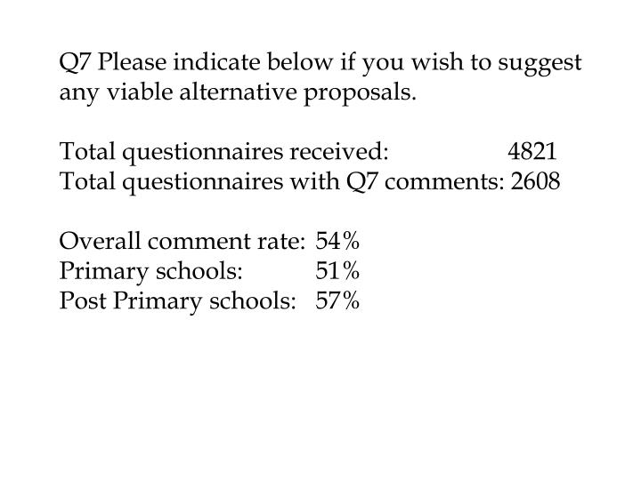 Q7 Please indicate below if you wish to suggest any viable alternative proposals.