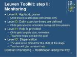 leuven toolkit step ii monitoring