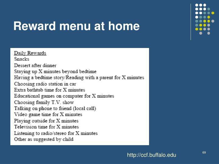 Reward menu at home