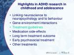 highlights in adhd research in childhood and adolescence2