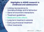 highlights in adhd research in childhood and adolescence3