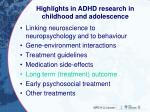 highlights in adhd research in childhood and adolescence4