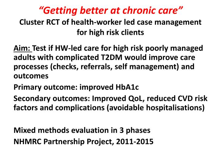 """Getting better at chronic care"""