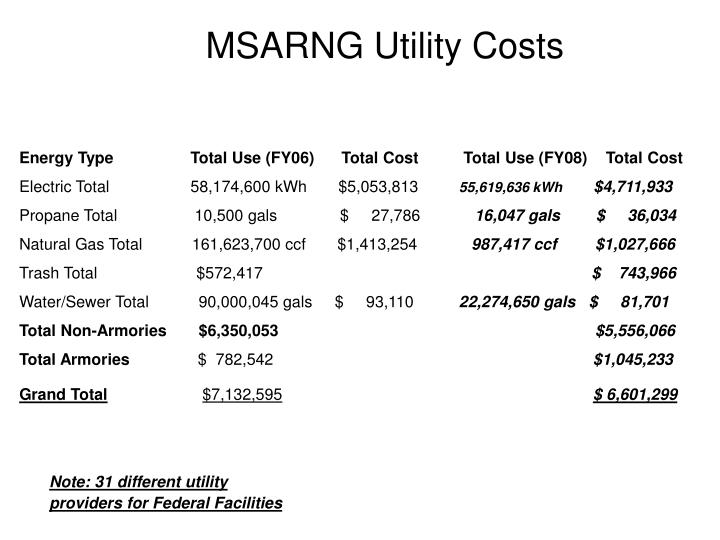 MSARNG Utility Costs