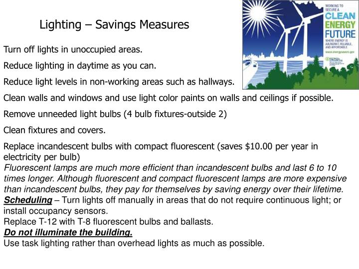 Lighting – Savings Measures