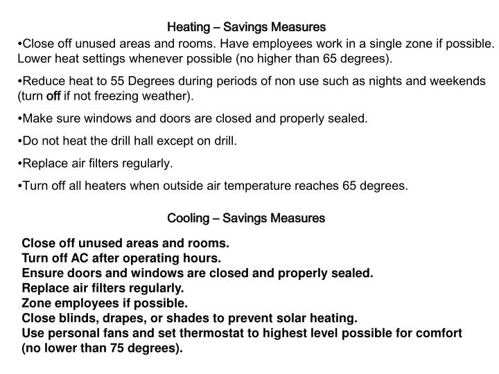 Heating – Savings Measures