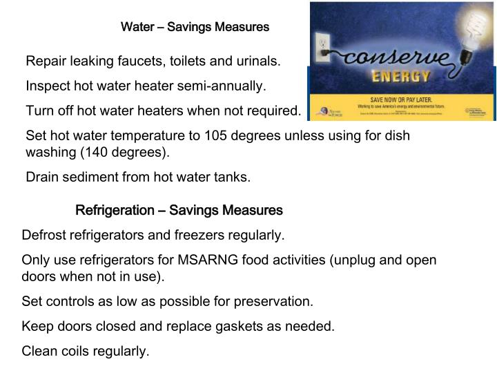 Water – Savings Measures