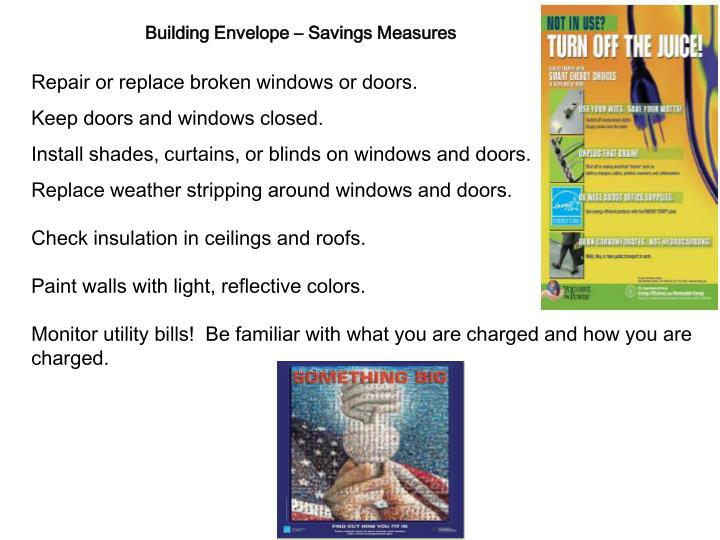 Building Envelope – Savings Measures