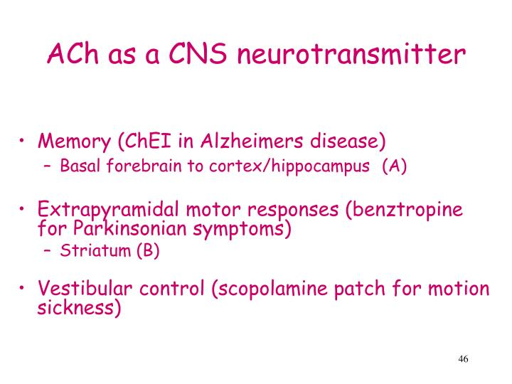 ACh as a CNS neurotransmitter