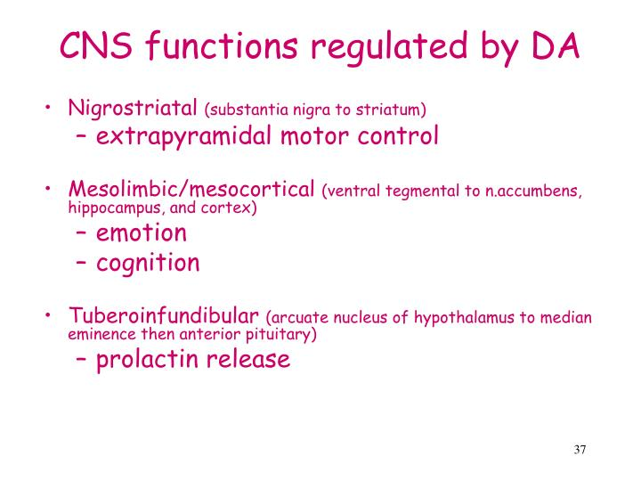 CNS functions regulated by DA