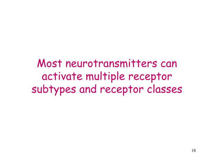 Most neurotransmitters can activate multiple receptor subtypes and receptor classes