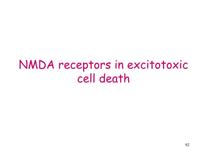NMDA receptors in excitotoxic cell death