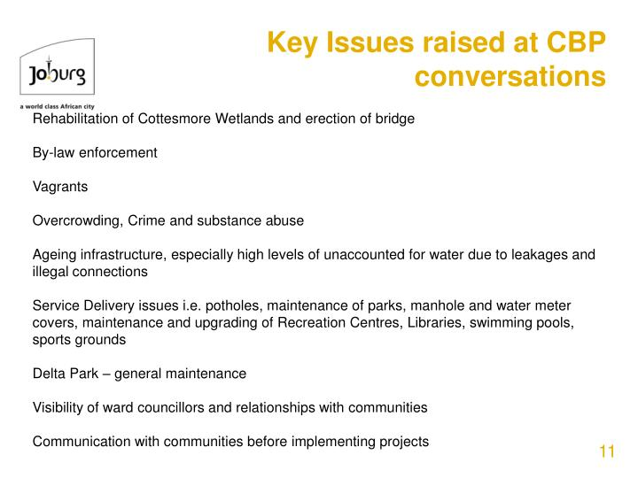 Key Issues raised at CBP conversations