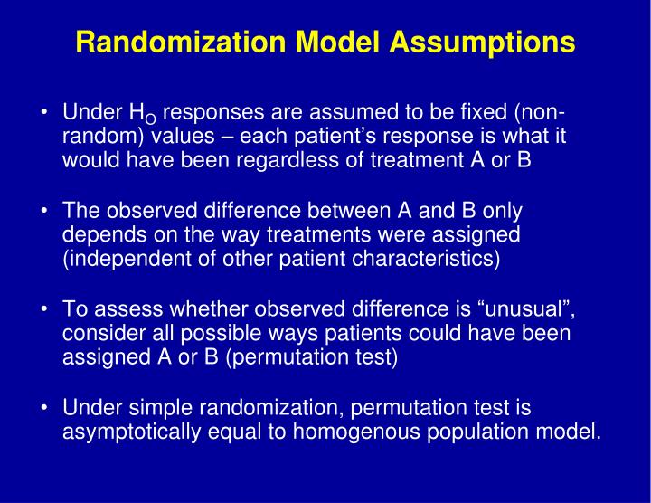 Randomization Model Assumptions
