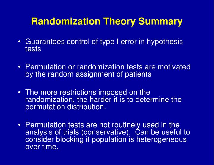 Randomization Theory Summary