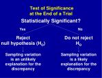 test of significance at the end of a trial