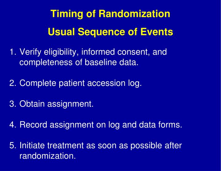 Timing of Randomization
