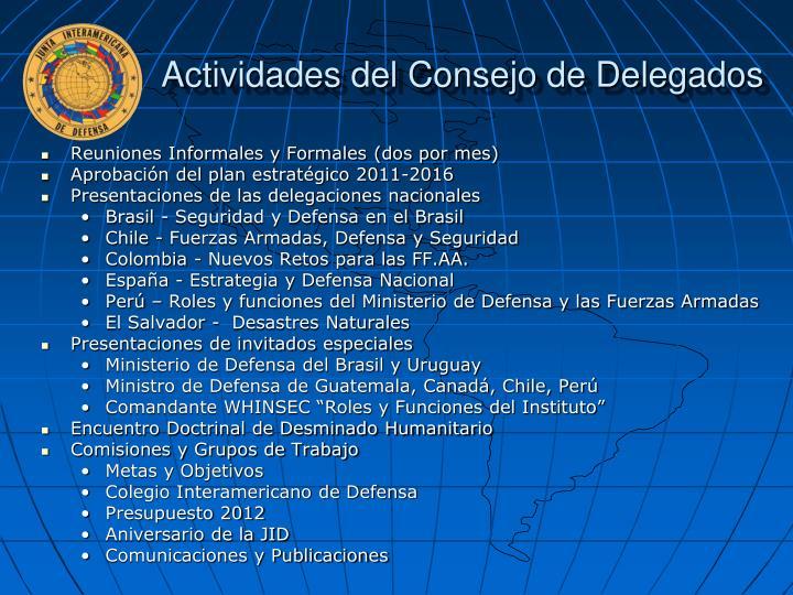 Actividades del Consejo de Delegados
