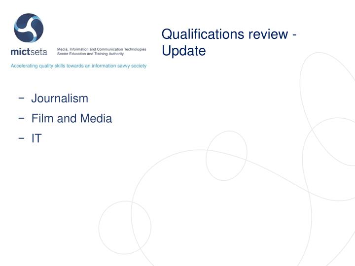 Qualifications review - Update
