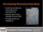 developing brainstorming ideas