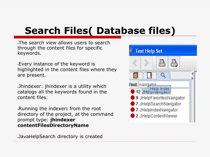 Search Files( Database files)