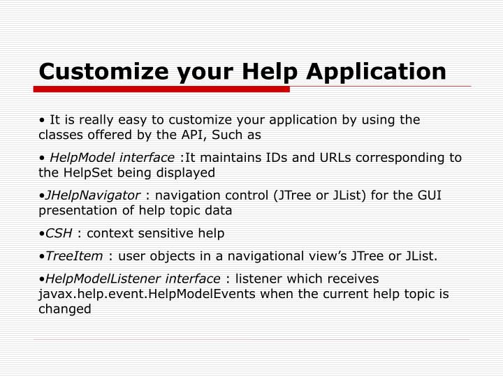 Customize your Help Application