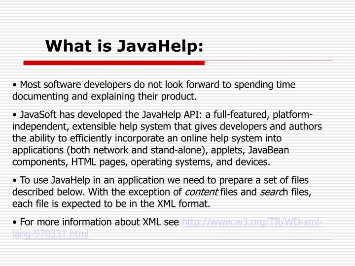 What is JavaHelp:
