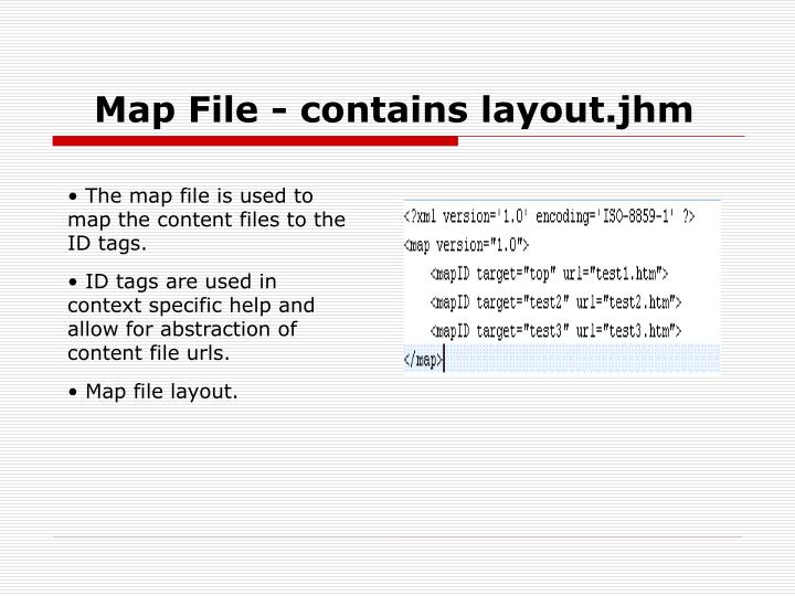 Map File - contains layout.jhm