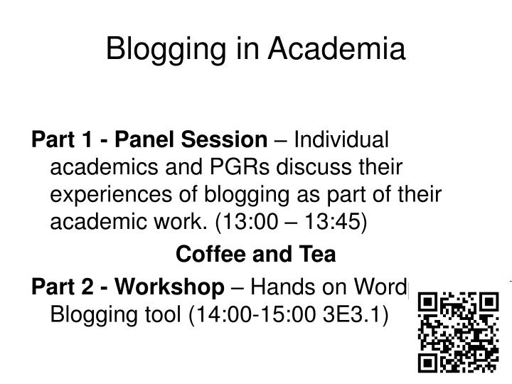 Blogging in academia