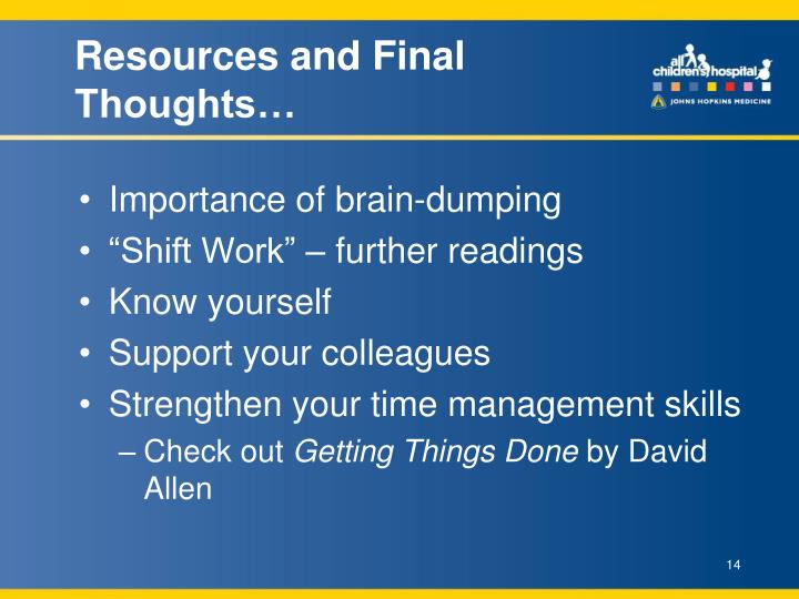Resources and Final