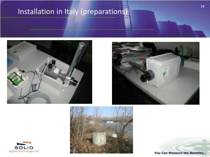 Installation in Italy (preparations)