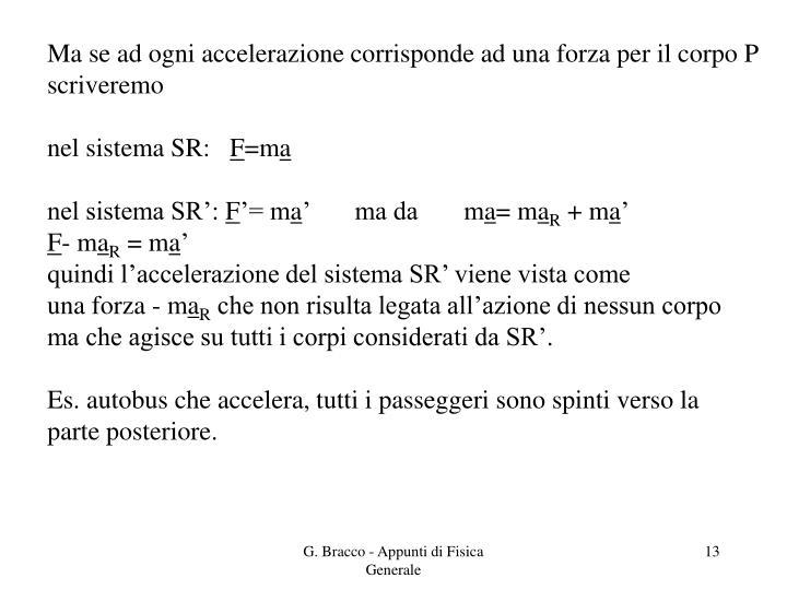Ma se ad ogni accelerazione corrisponde ad una forza per il corpo P