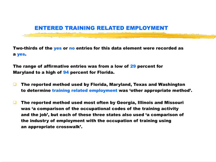 ENTERED TRAINING RELATED EMPLOYMENT