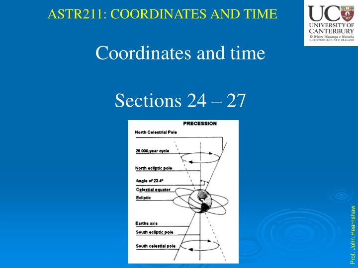 Coordinates and time