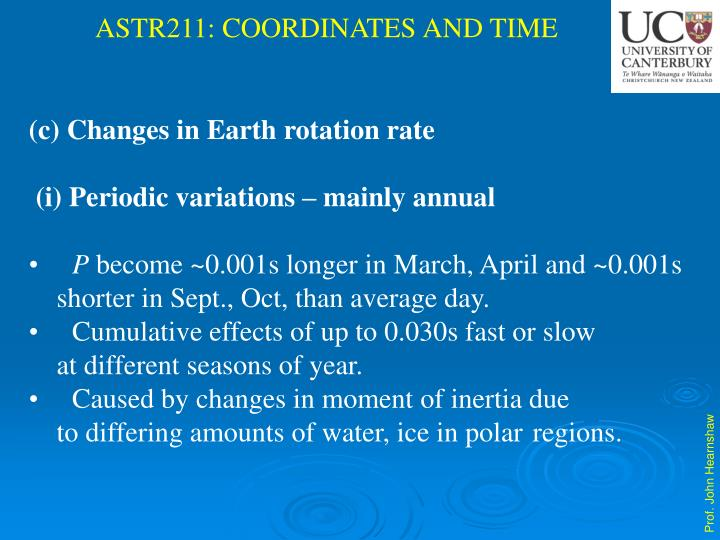 (c) Changes in Earth rotation rate