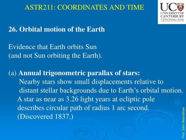 Orbital motion of the Earth