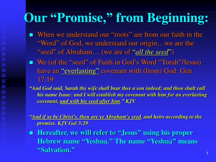 "Our ""Promise,"" from Beginning:"