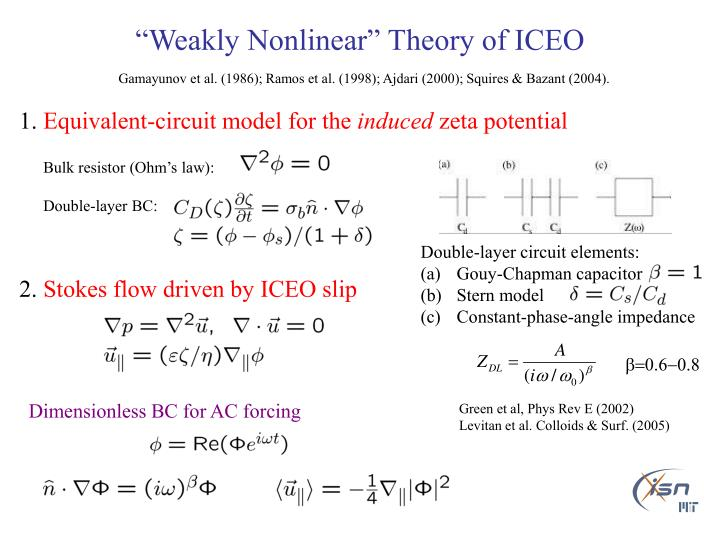 """Weakly Nonlinear"" Theory of ICEO"