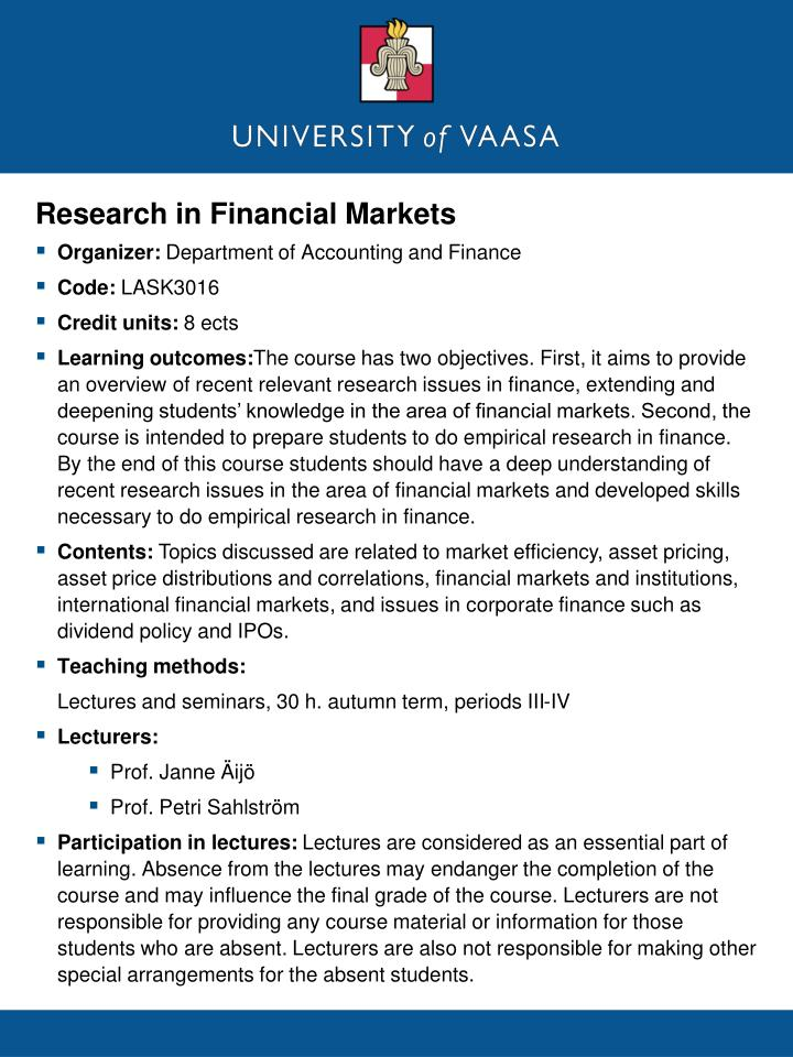 Research in Financial Markets
