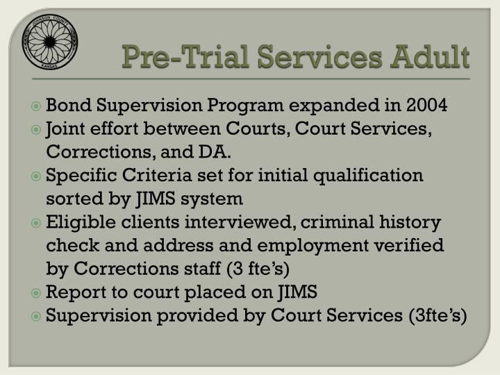 Pre-Trial Services Adult