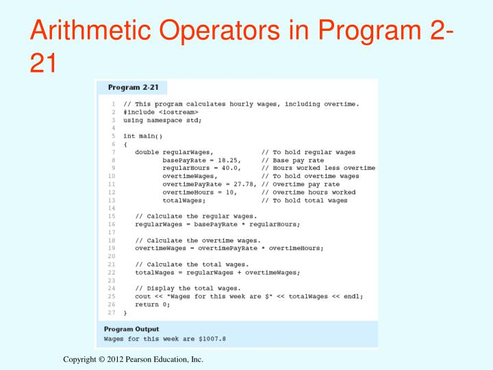 Arithmetic Operators in Program 2-21