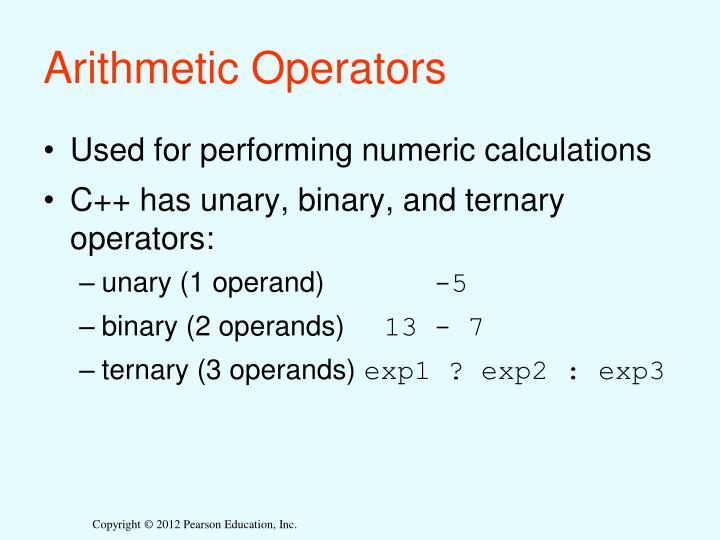 Arithmetic Operators