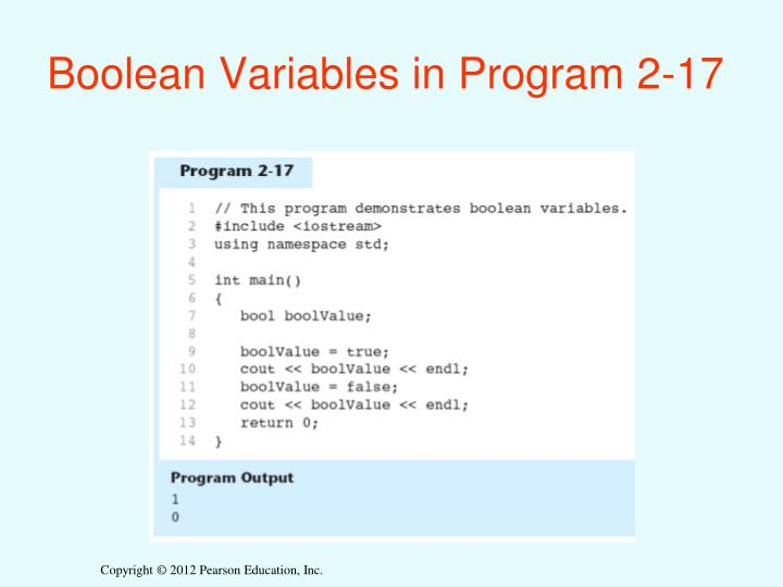 Boolean Variables in Program 2-17