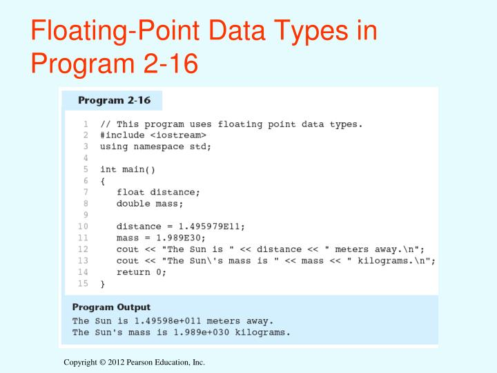 Floating-Point Data Types in Program 2-16